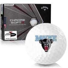 Callaway Golf Chrome Soft X Triple Track Maine Black Bears Golf Balls