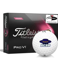Titleist 2021 Pro V1 Pink Play & Sidestamp Cal Santa Barbara Gauchos Golf Balls