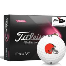 Titleist 2021 Pro V1 Pink Play & Sidestamp Cleveland Browns Golf Balls