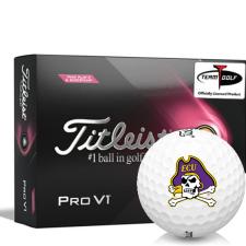 Titleist 2021 Pro V1 Pink Play & Sidestamp East Carolina Pirates Golf Balls