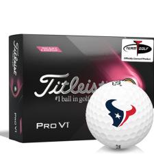 Titleist 2021 Pro V1 Pink Play & Sidestamp Houston Texans Golf Balls