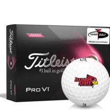 Titleist 2021 Pro V1 Pink Play & Sidestamp Illinois State Redbirds Golf Balls
