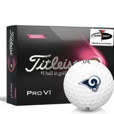 Titleist 2021 Pro V1 Pink Play & Sidestamp Los Angeles Rams Golf Balls