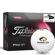 Titleist 2021 Pro V1 Pink Play & Sidestamp Michigan Tech Huskies Golf Balls
