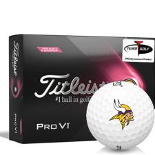 Titleist 2021 Pro V1 Pink Play & Sidestamp Minnesota Vikings Golf Balls