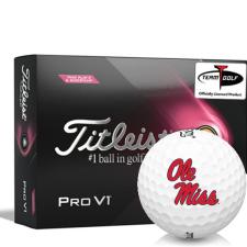 Titleist 2021 Pro V1 Pink Play & Sidestamp Ole Miss Rebels Golf Balls