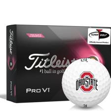 Titleist 2021 Pro V1 Pink Play & Sidestamp Ohio State Buckeyes Golf Balls