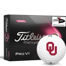 Titleist 2021 Pro V1 Pink Play & Sidestamp Oklahoma Sooners Golf Balls