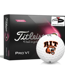 Titleist 2021 Pro V1 Pink Play & Sidestamp RIT - Rochester Institute of Technology Tigers Golf Balls