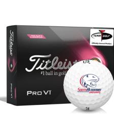 Titleist 2021 Pro V1 Pink Play & Sidestamp South Alabama Jaguars Golf Balls
