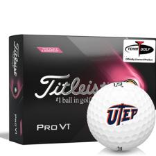 Titleist 2021 Pro V1 Pink Play & Sidestamp Texas El Paso Miners Golf Balls