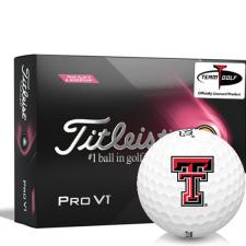 Titleist 2021 Pro V1 Pink Play & Sidestamp Texas Tech Red Raiders Golf Balls