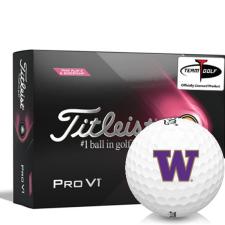 Titleist 2021 Pro V1 Pink Play & Sidestamp Washington Huskies Golf Balls