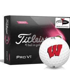 Titleist 2021 Pro V1 Pink Play & Sidestamp Wisconsin Badgers Golf Balls