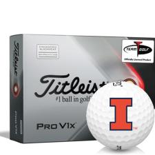 Titleist 2021 Pro V1x AIM Illinois Fighting Illini Golf Balls
