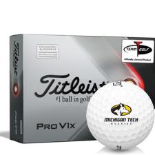 Titleist 2021 Pro V1x AIM Michigan Tech Huskies Golf Balls